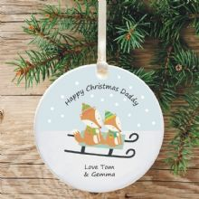Ceramic Mummy/Daddy Keepsake Christmas Decoration - Fox Design
